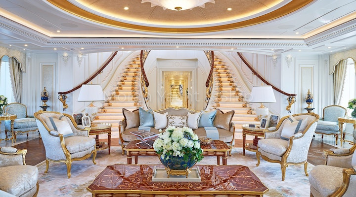 Completed Lurssen TIS Main Deck Salon and Stairs