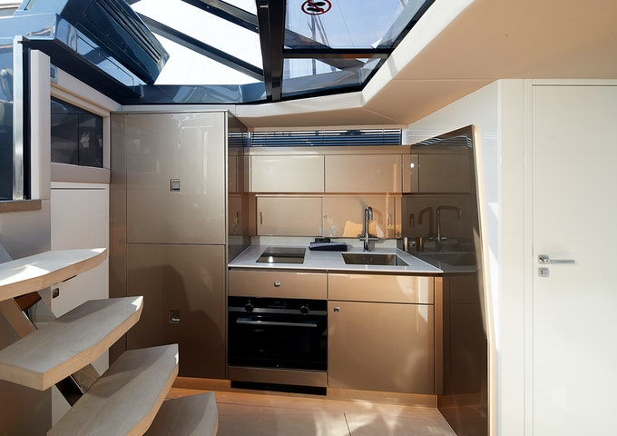 Steeler Yachts Bronson 50 Living Area and Galley